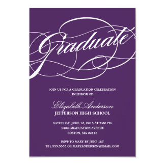 Convite da graduação do roteiro da caligrafia