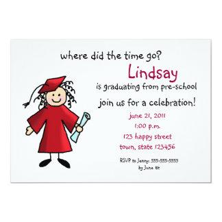 Convite da graduação--Menina, vermelha Convite 12.7 X 17.78cm