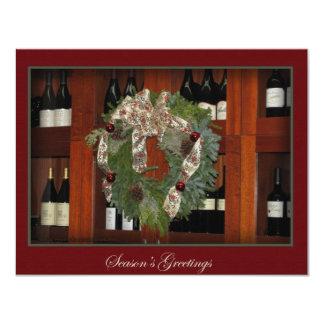 Convite da grinalda e do vinho do feriado convite 10.79 x 13.97cm
