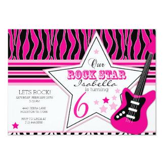 Convite da guitarra da estrela do rock convite 12.7 x 17.78cm