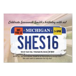 Convite da licença de Michigan do aniversário da