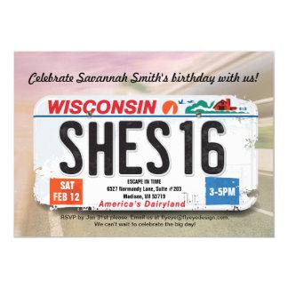 Convite da licença de Wisconsin do aniversário da