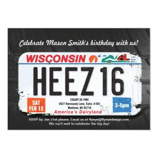 Convite da licença de Wisconsin do aniversário do