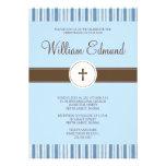 Convite da listra azul do batismo - menino
