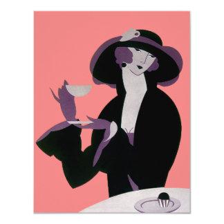 Convite da mulher, do chá e do cupcake do art deco