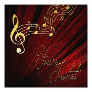 Convite da música - vermelho - notas de ouro -