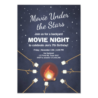 Convite da noite de cinema sob a fogueira das