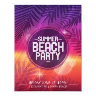 Cartão Convite da noite do partido da praia do verão
