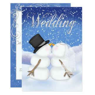 Convite da noiva & do noivo do boneco de neve do