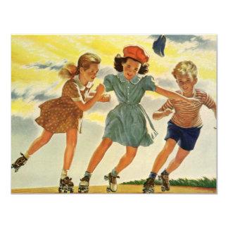 Convite da patinagem de rolo das crianças do