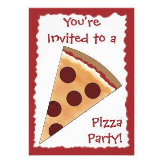 Convite da pizza com fatia da pizza de Pepperoni