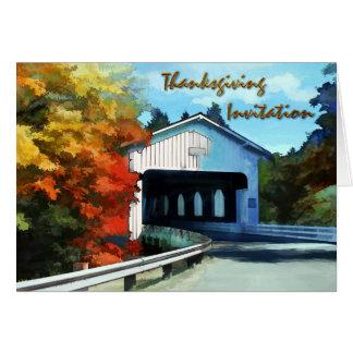 Convite da ponte coberta do outono da acção de