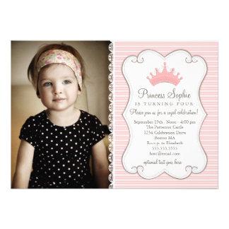 Convite da princesa Aniversário Cor-de-rosa Coroa