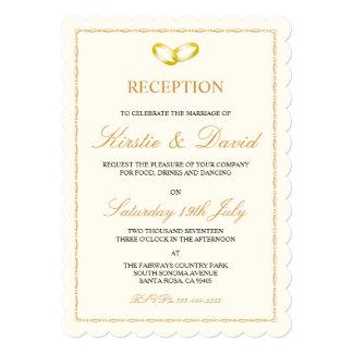 Convite da recepção de casamento com anéis de ouro