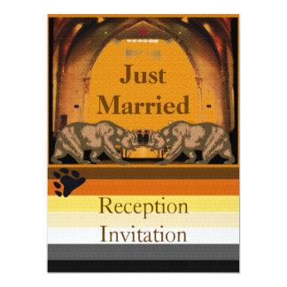 Convite da recepção do recem casados do urso de convite 16.51 x 22.22cm
