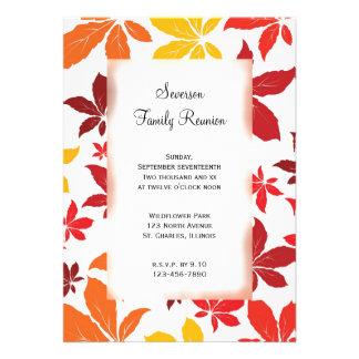 Convite da reunião de família das folhas de outono