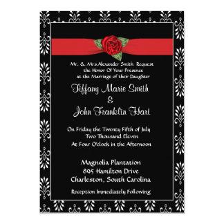 Convite da rosa vermelha e do casamento da fita