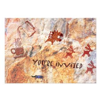 Convite da ruptura de café do desenho da caverna