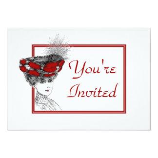Convite da senhora Red Hat do vintage