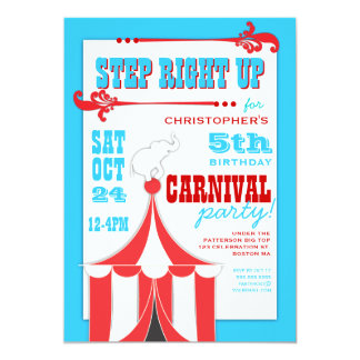 Convite da tenda de circo da festa de aniversário
