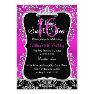 Cartão Convite da tiara do damasco do preto do rosa