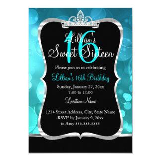 Cartão Convite da tiara do preto azul da cerceta do doce