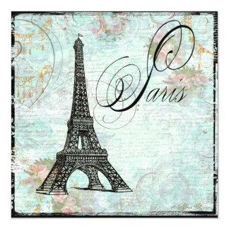 Convite da torre Eiffel de Eiffel da excursão do Convite Quadrado 13.35 X 13.35cm