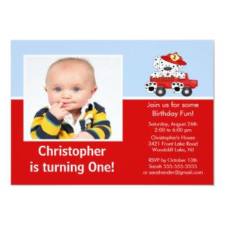 Convite Dalmatian do aniversário da foto do carro