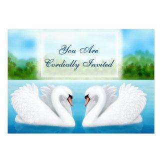 Convite das cisnes dos pássaros do amor