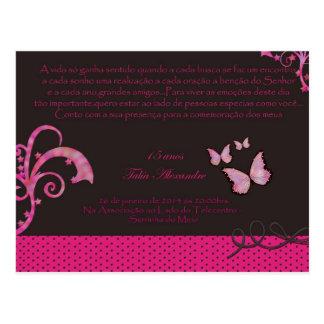Convite de 15 Anos Cartão Postal