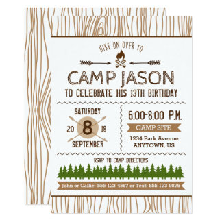 Convite de acampamento do aniversário