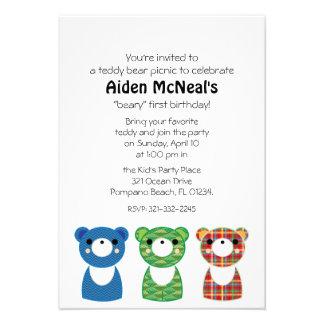 convite de aniversário 1 do piquenique do urso de
