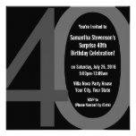 Convite de aniversário 40 grande quadrado preto/ci