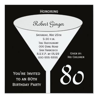 convite de aniversário 80 do 80 no preto