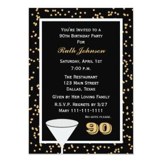 convite de aniversário 90 do 90 e confetes