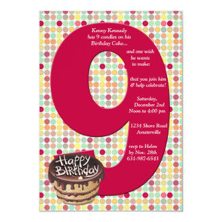 Convite de aniversário 9 grande