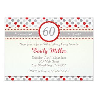 Convite de aniversário adulto cinzento vermelho