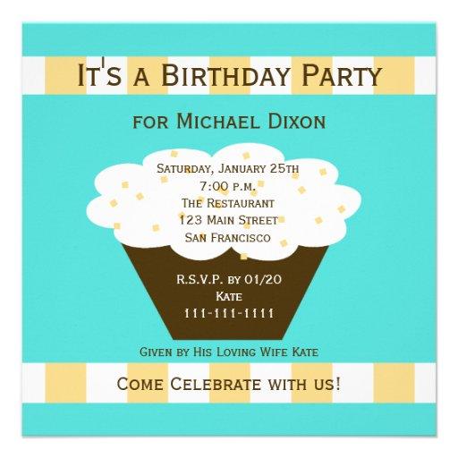 Convite de aniversário adulto - cupcake do anivers