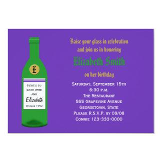 Convite de aniversário adulto do vinho - roxo convite 12.7 x 17.78cm