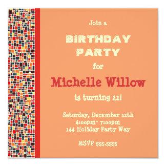 Convite de aniversário alaranjado do mosaico