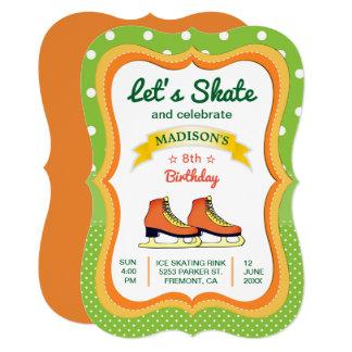 Convite de aniversário alaranjado do patinagem no