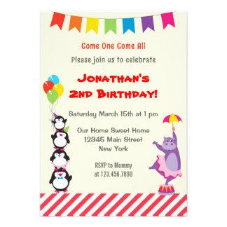 Convite de aniversário animal das crianças do circ