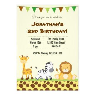 Convite de aniversário animal do safari