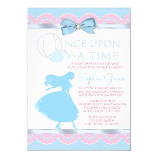Convite de aniversário azul cor-de-rosa de
