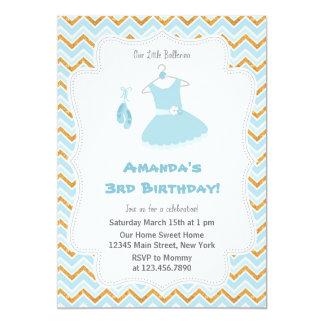 Convite de aniversário azul da bailarina
