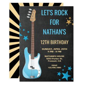 Convite de aniversário azul da estrela do rock da