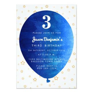 Convite de aniversário azul do balão