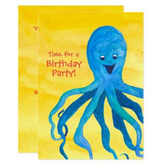 Convite de aniversário azul do polvo