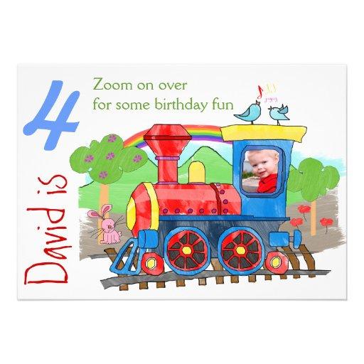 Convite de aniversário bonito da foto do trem