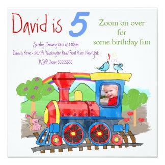Convite de aniversário bonito da foto do trem do